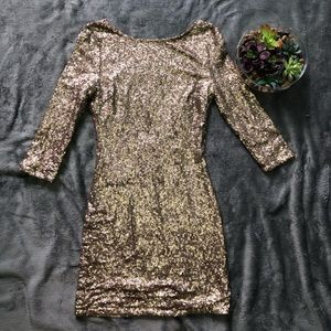 TOBI sequin open back dress size M champagne gold